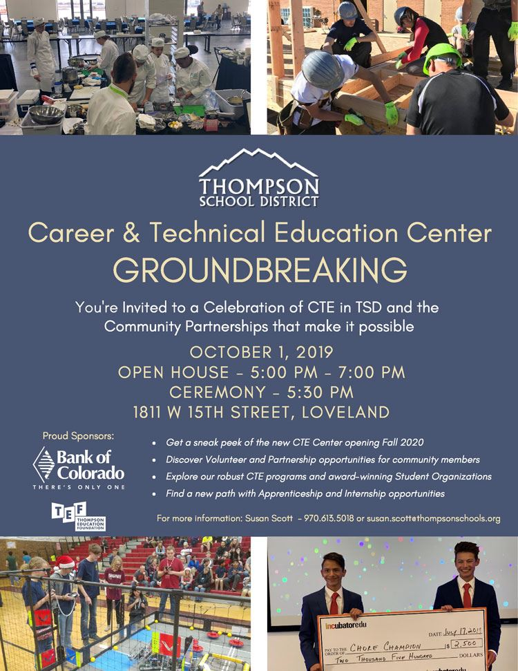 Groundbreaking flyer at the new CTE Center